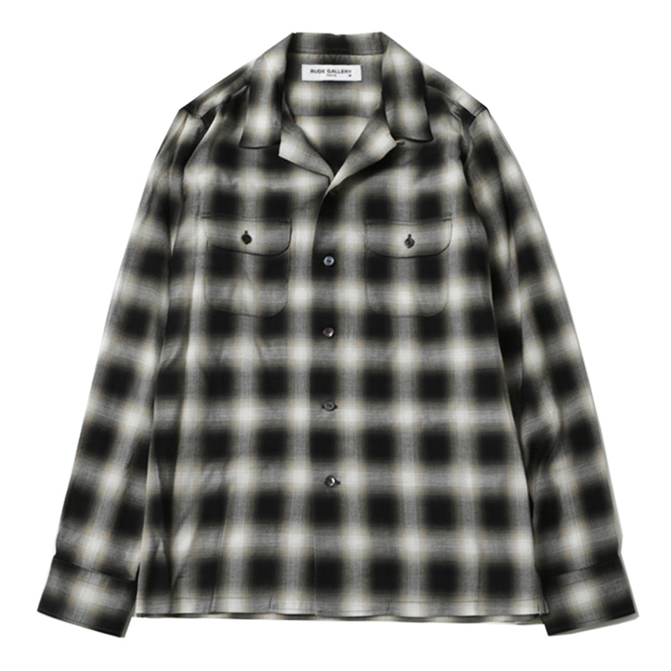 RAYON OMBRE CHECK OPEN COLLAR L/S SHIRT - GRAY