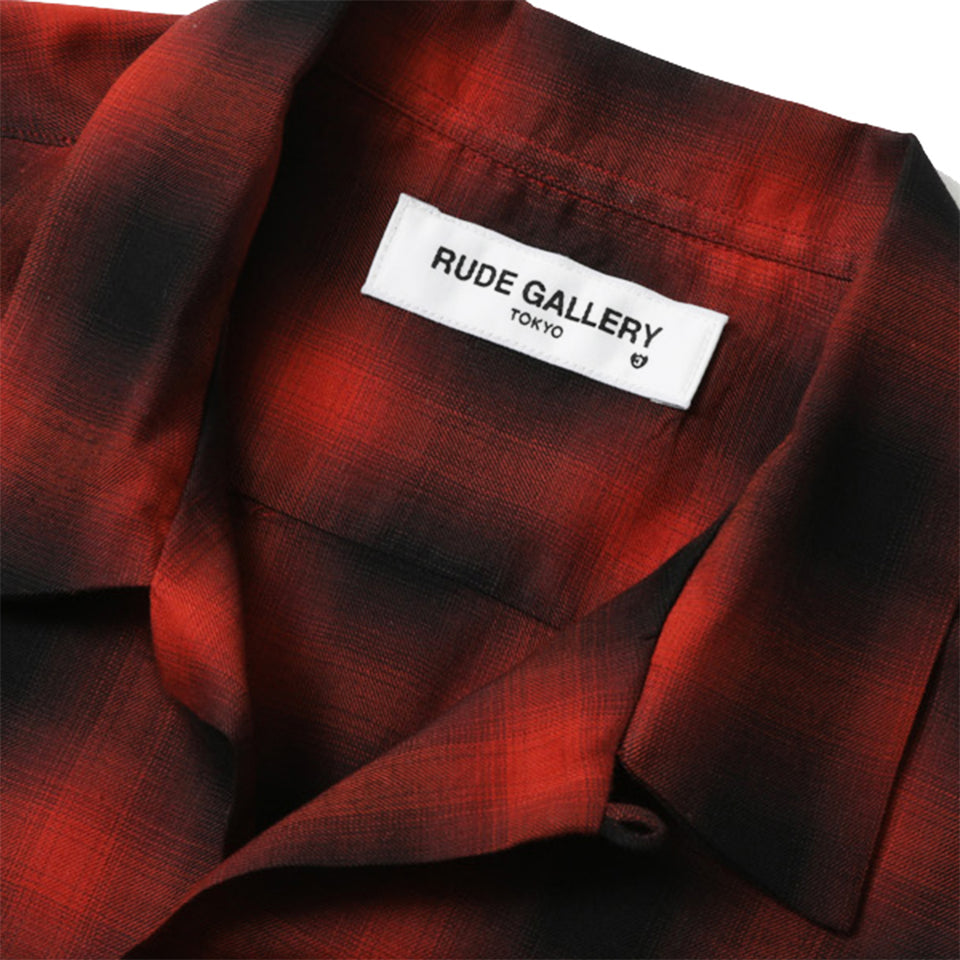 RAYON OMBRE CHECK OPEN COLLAR L/S SHIRT - RED