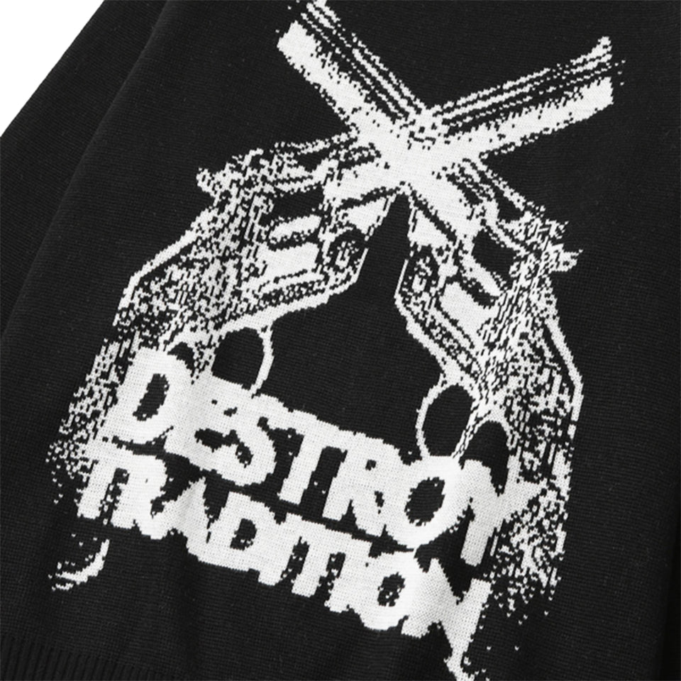 WOOL DESTROY TRADITION HAND GUN SWEATER - BLACK