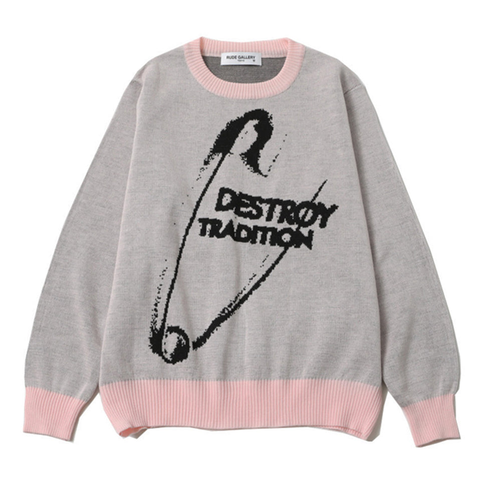 WOOL DESTROY TRADITION BIG PIN SWEATER - PINK