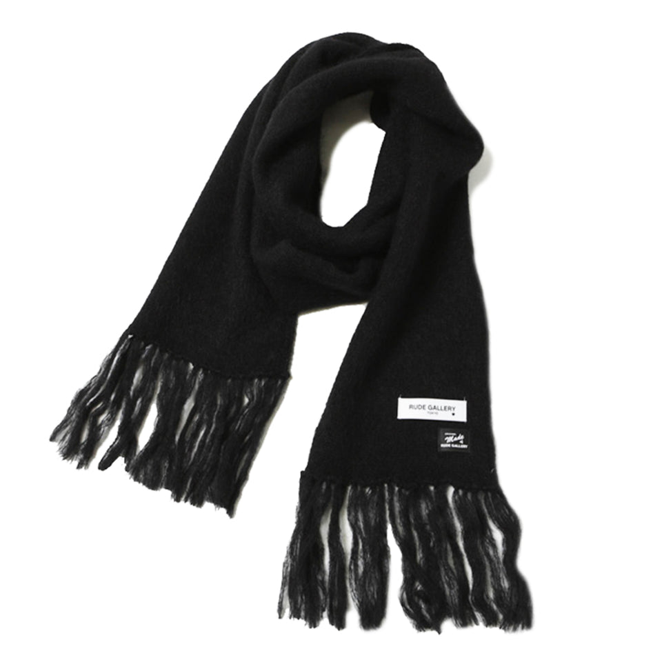 MOHAIR LONG SCARF - BLACK