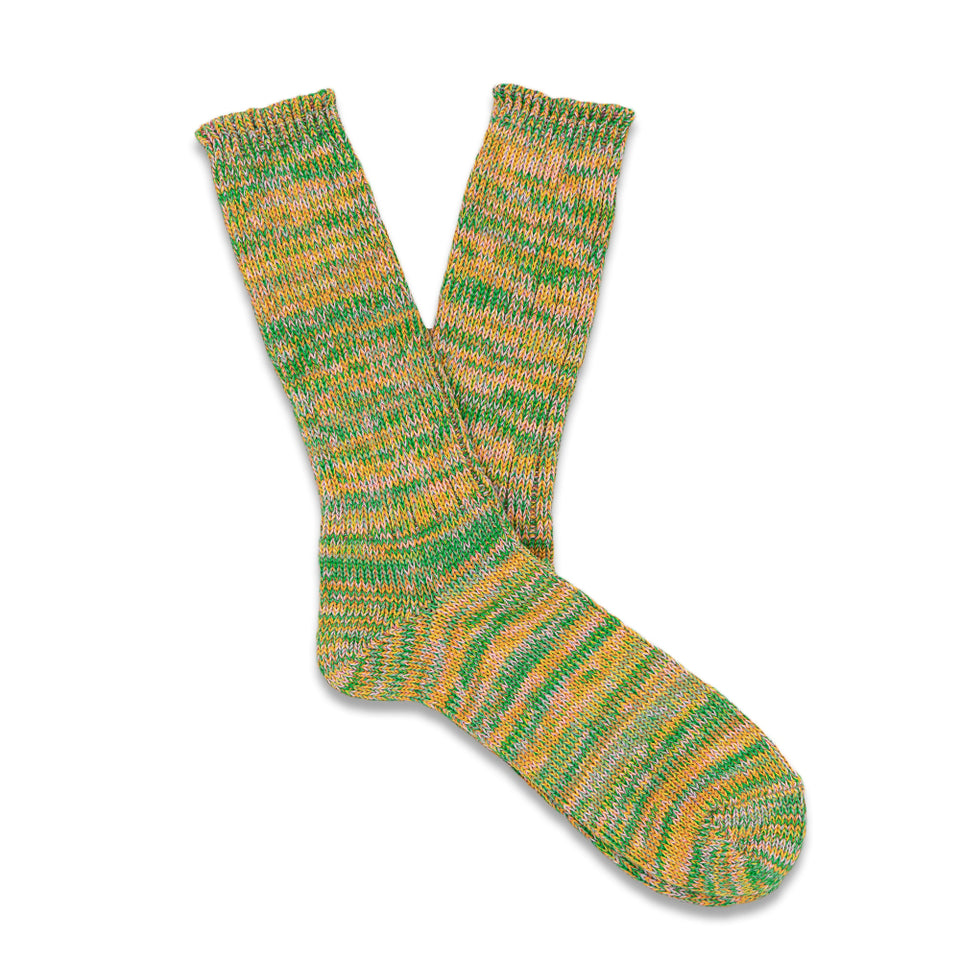 5 Colors Mix Crew Socks - Green/Pink