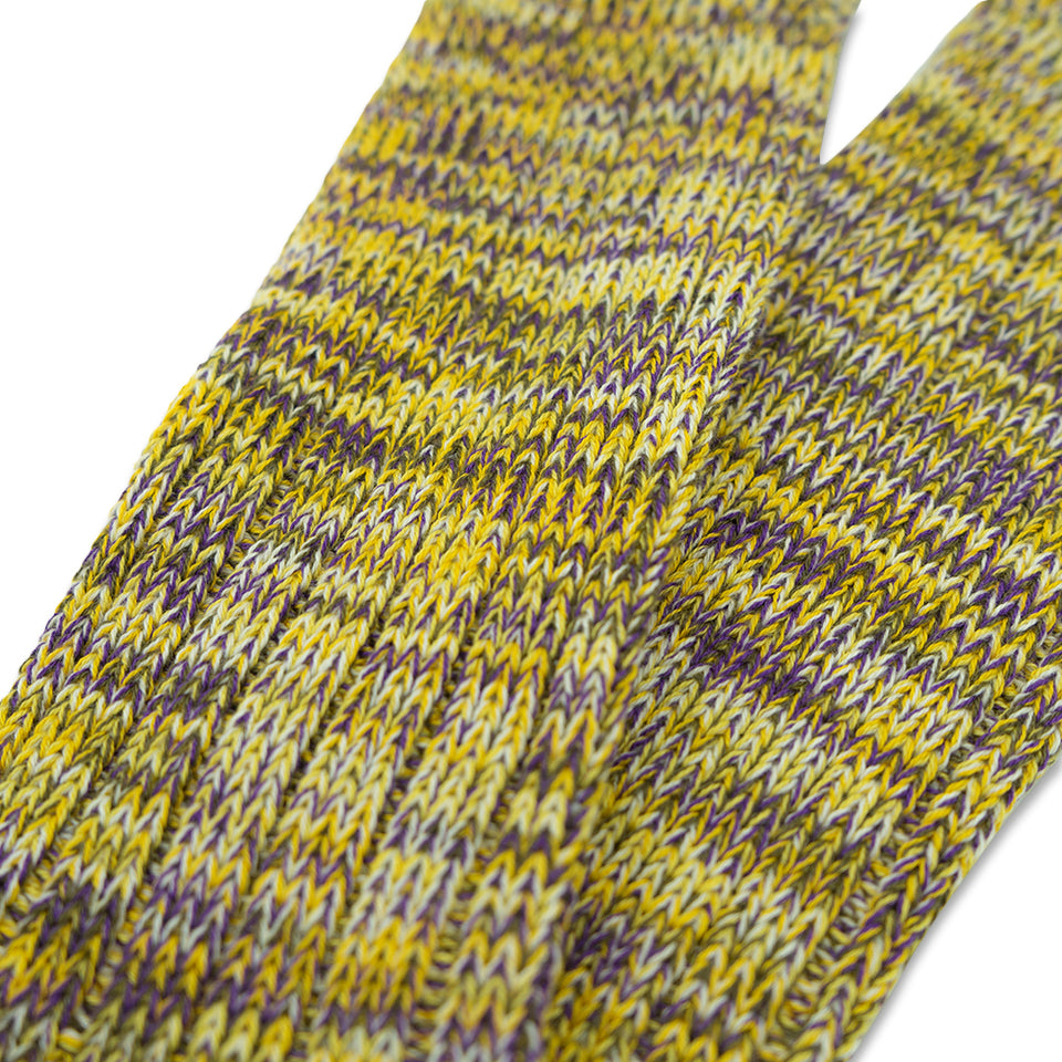 5 Colors Mix Crew Socks - Yellow/Purple
