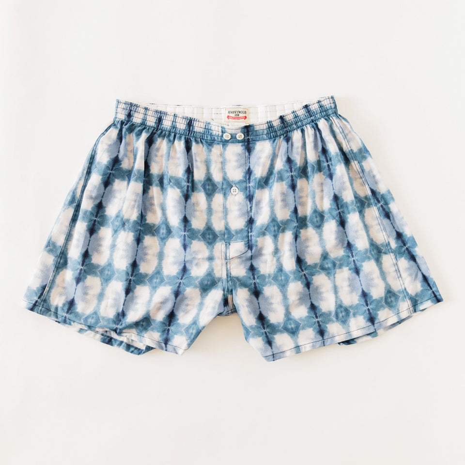 TIE DYE CHECK UNDERWEAR - BLUE