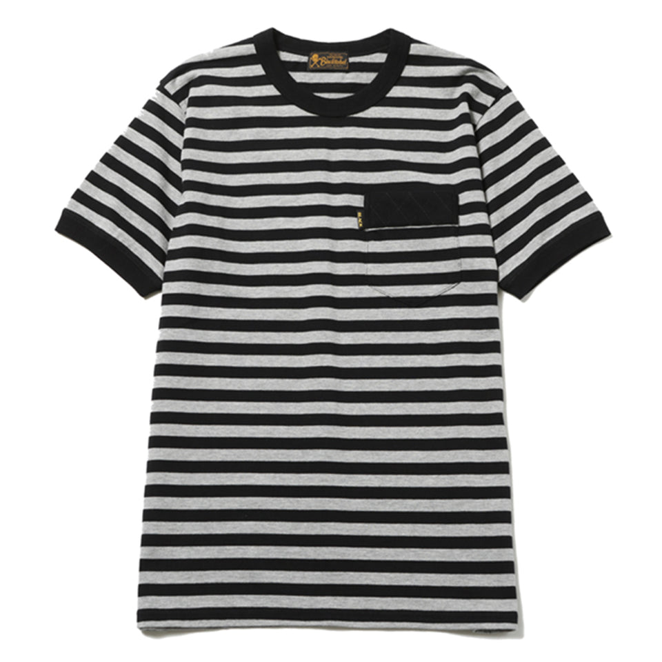 DIA STITCH BORDER TEE - BLACK/GRAY