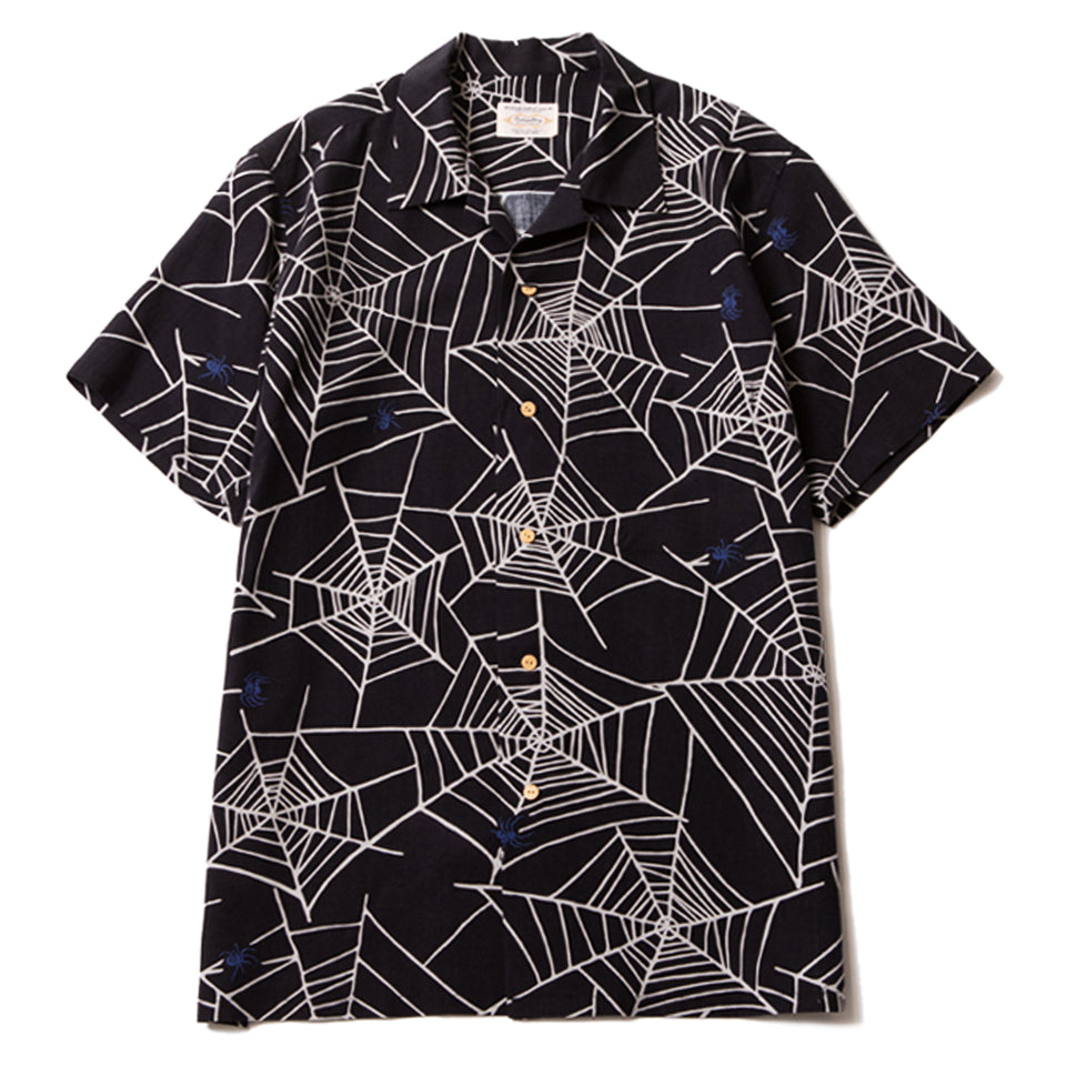 SPIDER NET HAWAIIAN SHIRT - BLACK