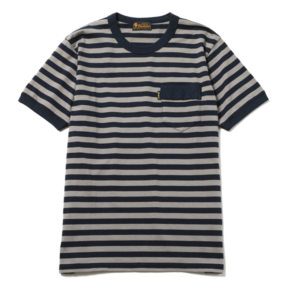DIA STITCH BORDER POCKET TEE - NAVY/GRAY