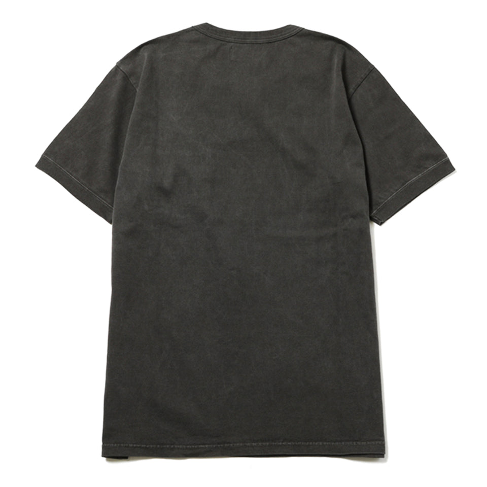 PIGMENT DYED DIA STITCH POCKET TEE - BLACK