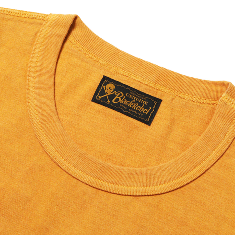 PIGMENT DYED DIA STITCH POCKET TEE - YELLOW