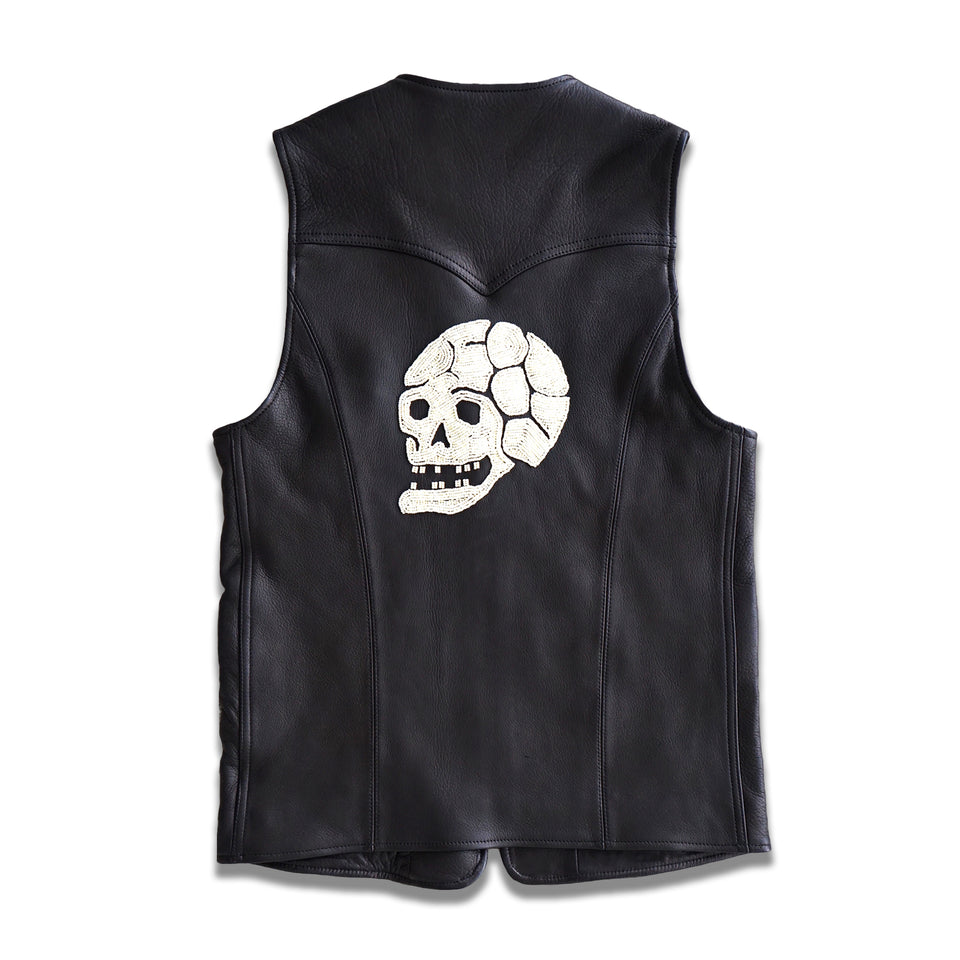 DEERSKIN JOURNEY SKULL HAND-BEADED VEST - BLACK at Mannahatta NYC