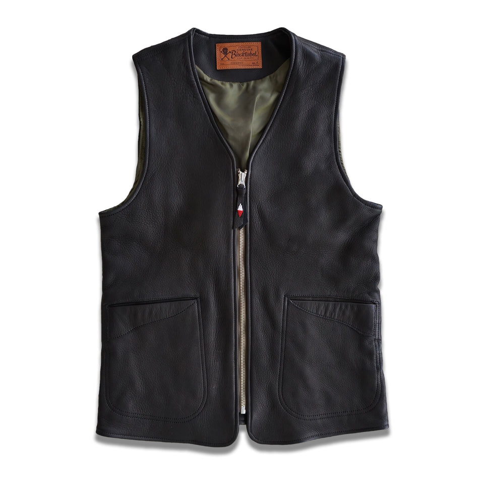 DEERSKIN JOURNEY SKULL HAND-BEADED VEST - BLACK
