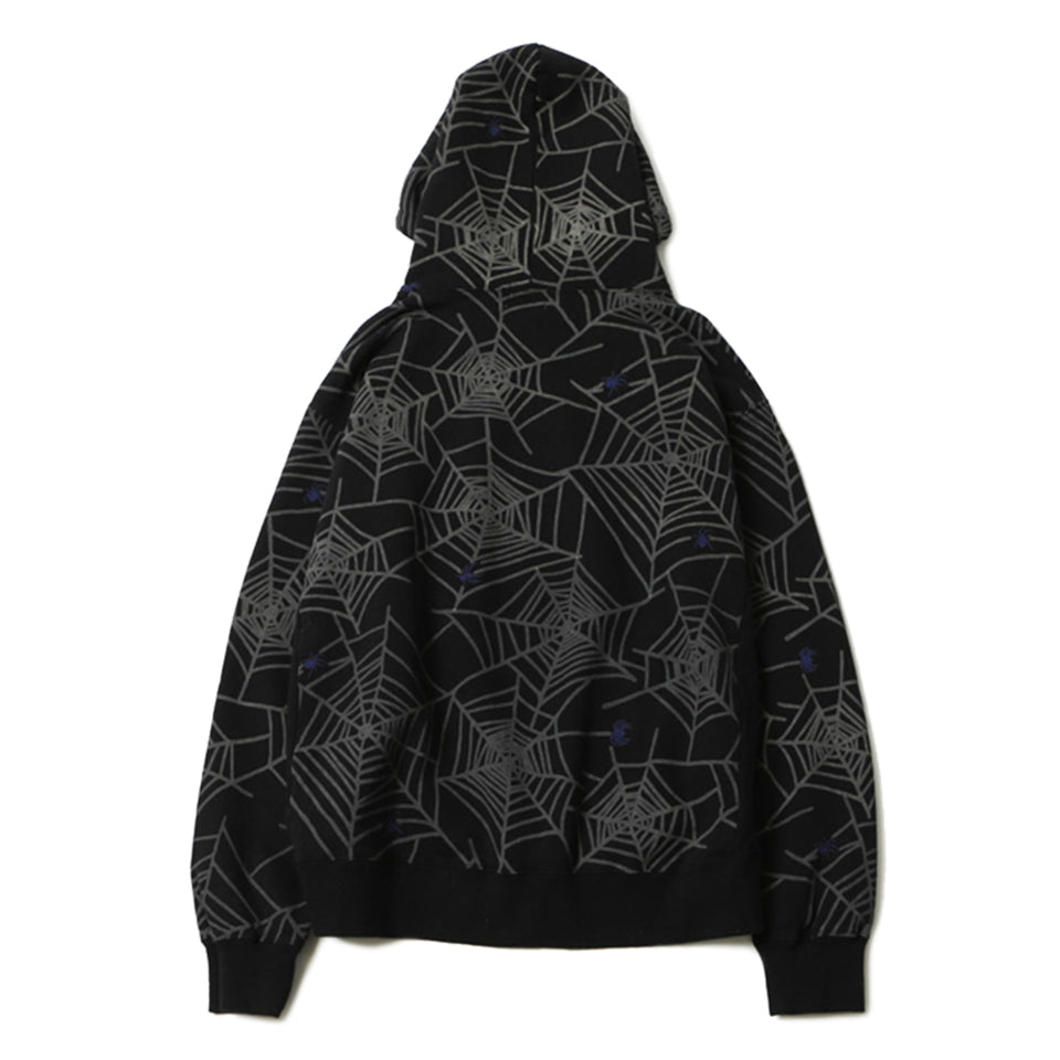 SPIDER WEB SWEAT HOODIE - BLACK