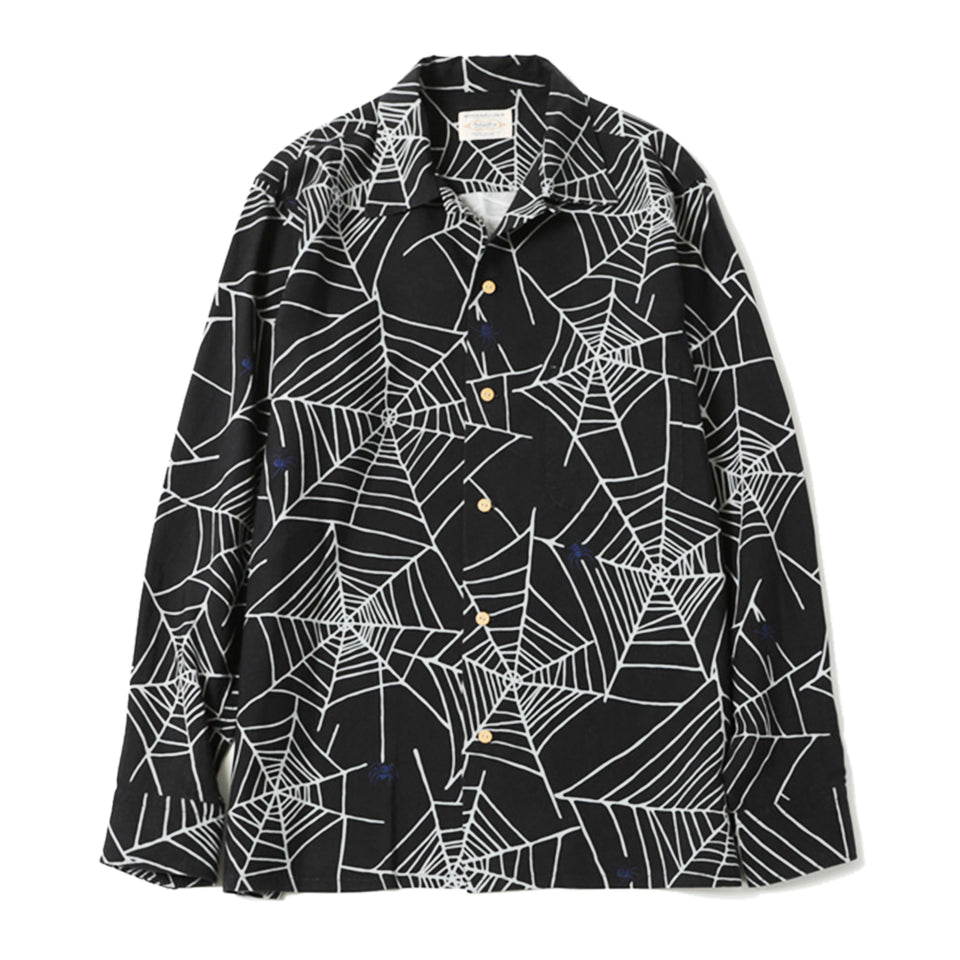 RAYON SPIDER WEB OPEN COLLAR SHIRT - BLACK