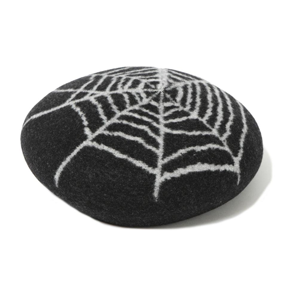 WOOL SPIDER BERET - BLACK