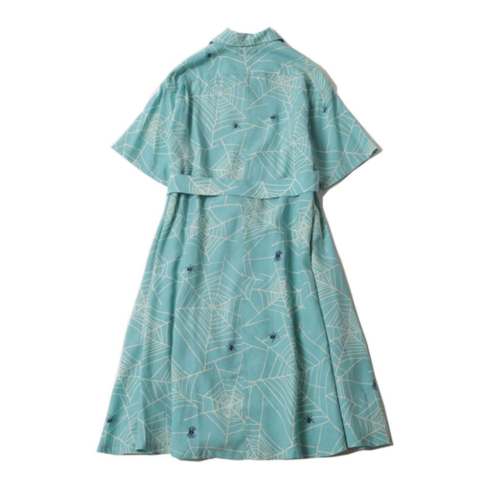 RAYON SPIDER WEB BOWLING DRESS - MINT