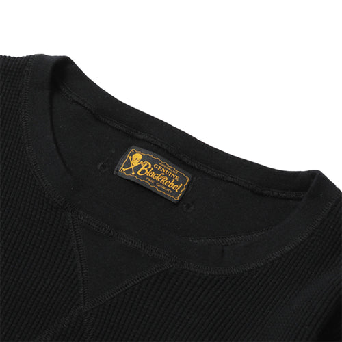 BLACK REBEL - WAFFLE CREW NECK CUT & SEWN - BLACK