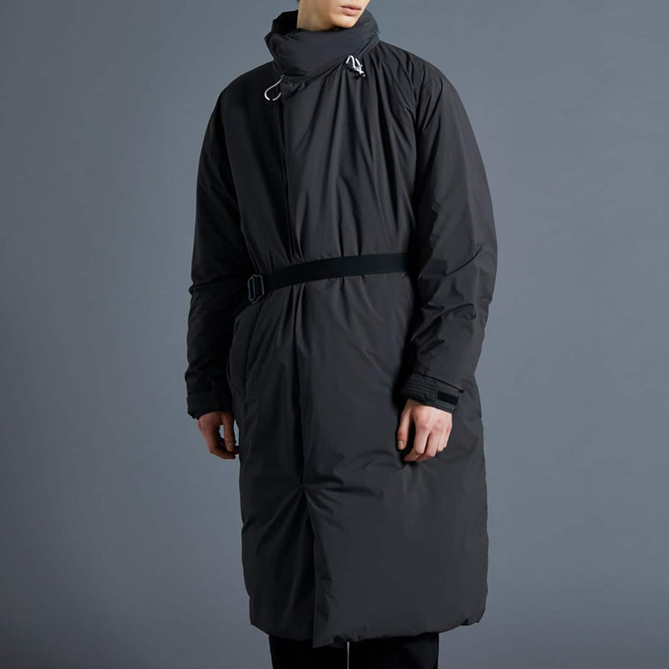 SLEEPING BAG LONG DOWN COAT - CHARCOAL