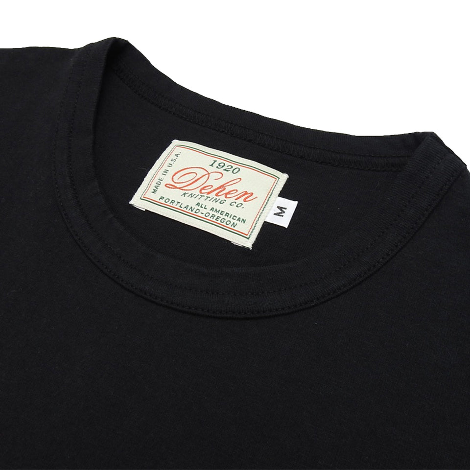 DEHEN 1920 - HEAVY DUTY SINGLE POCKET TEE - BLACK