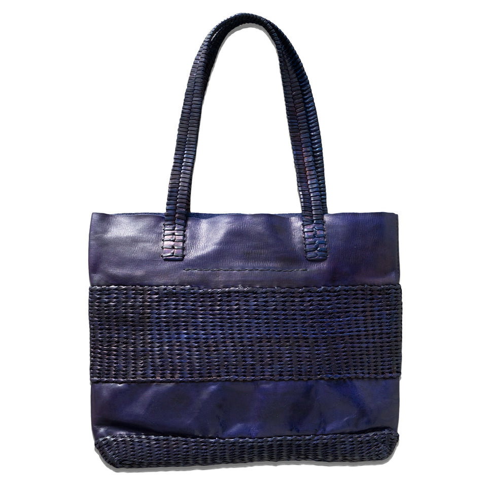 BAN-THE-BOMB LEATHER TOTE - INDIGO