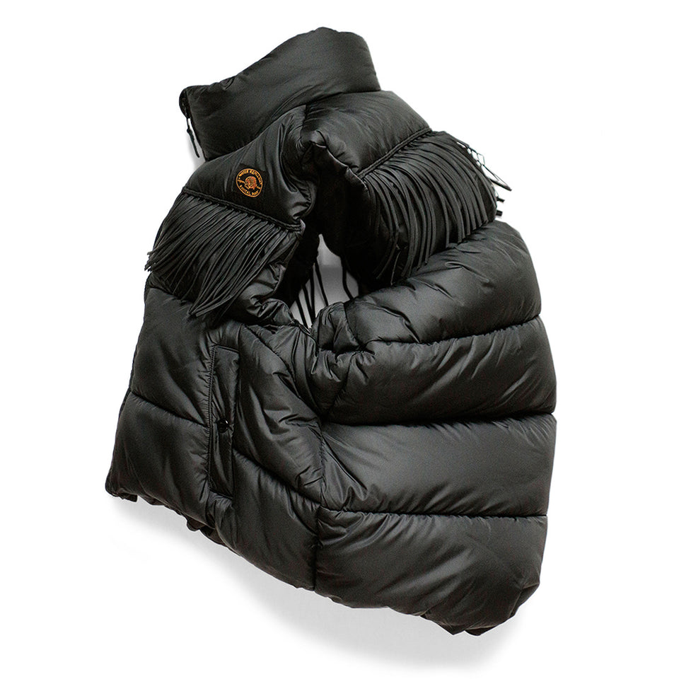 REVERSIBLE NYLON DOWN FRINGED BURGER-KEEL VEST - BLACK