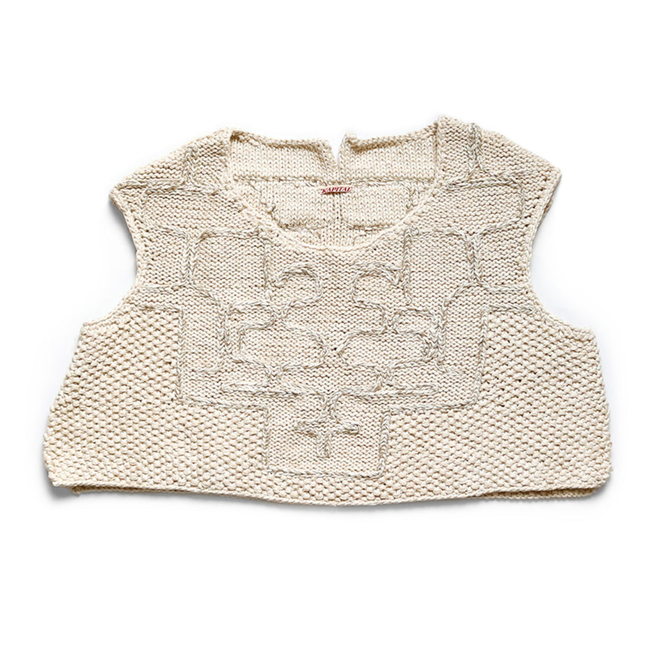 KAPITAL | HAND KNIT AINU STITCH VEST - NATURAL