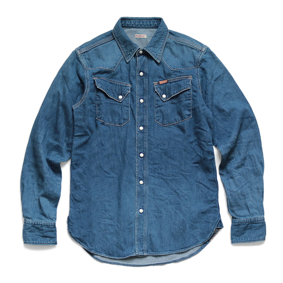 KAPITAL - 8oz DENIM WESTERN SHIRT (PRO) - INDIGO at Mannahatta NYC