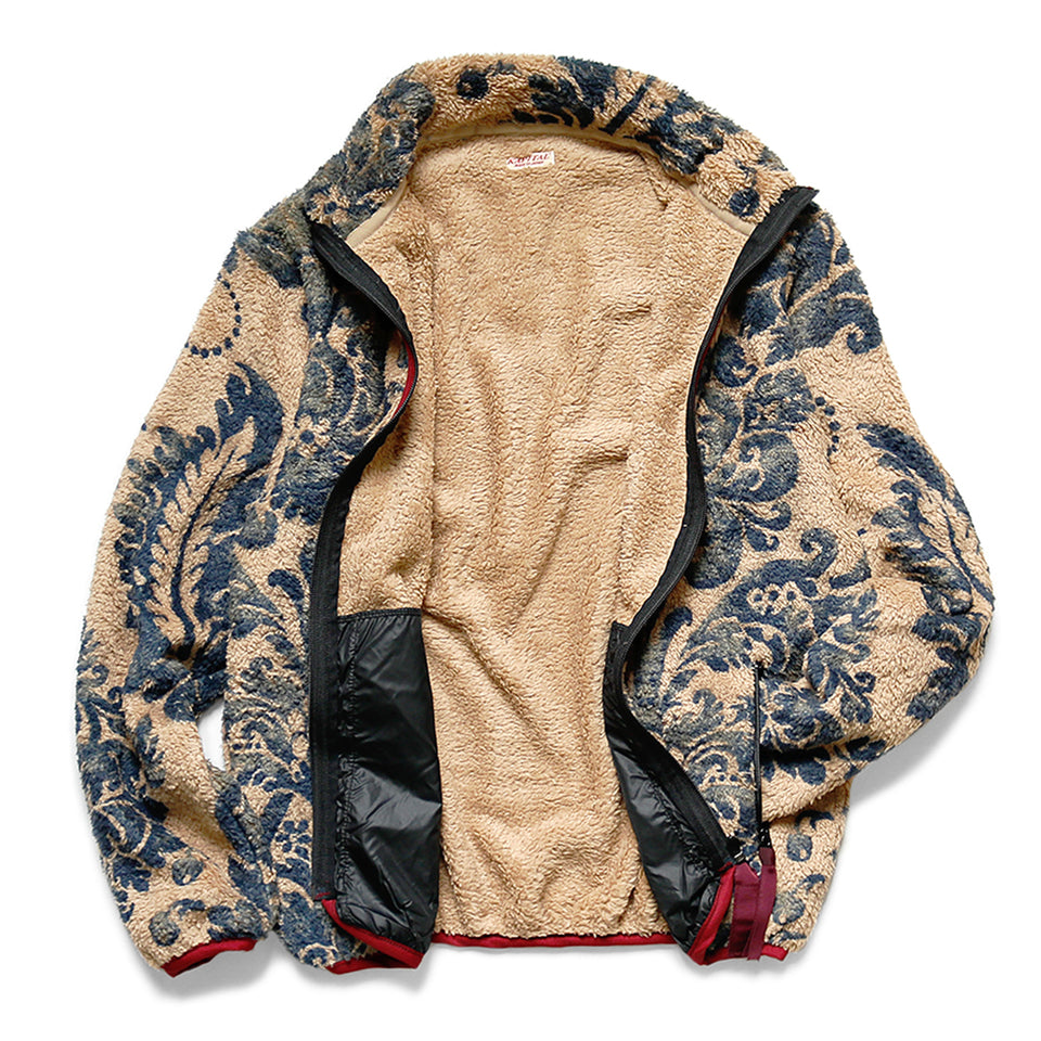 DAMASK FLEECE ZIP BLOUSON - BEIGE