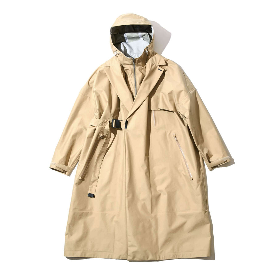 WRAP DOUBLE BREASTED WEATHER PROOF COAT - BEIGE