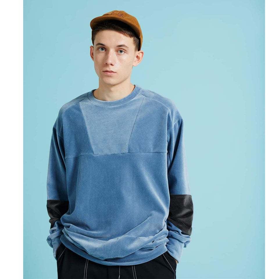 STRETCH CORDUROY PATCHWORK CREW SWEATS - BLUE