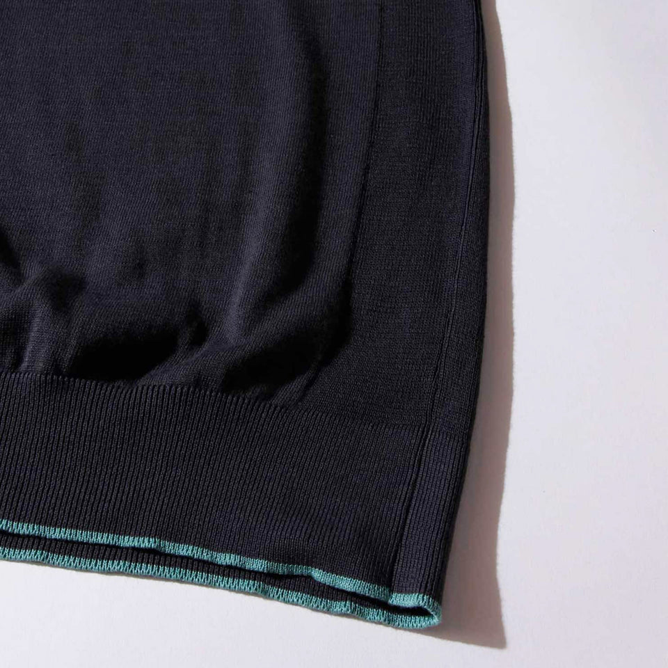 WASHABLE HIGHGAGE KNIT S/S T-SHIRTS - CHARCOAL