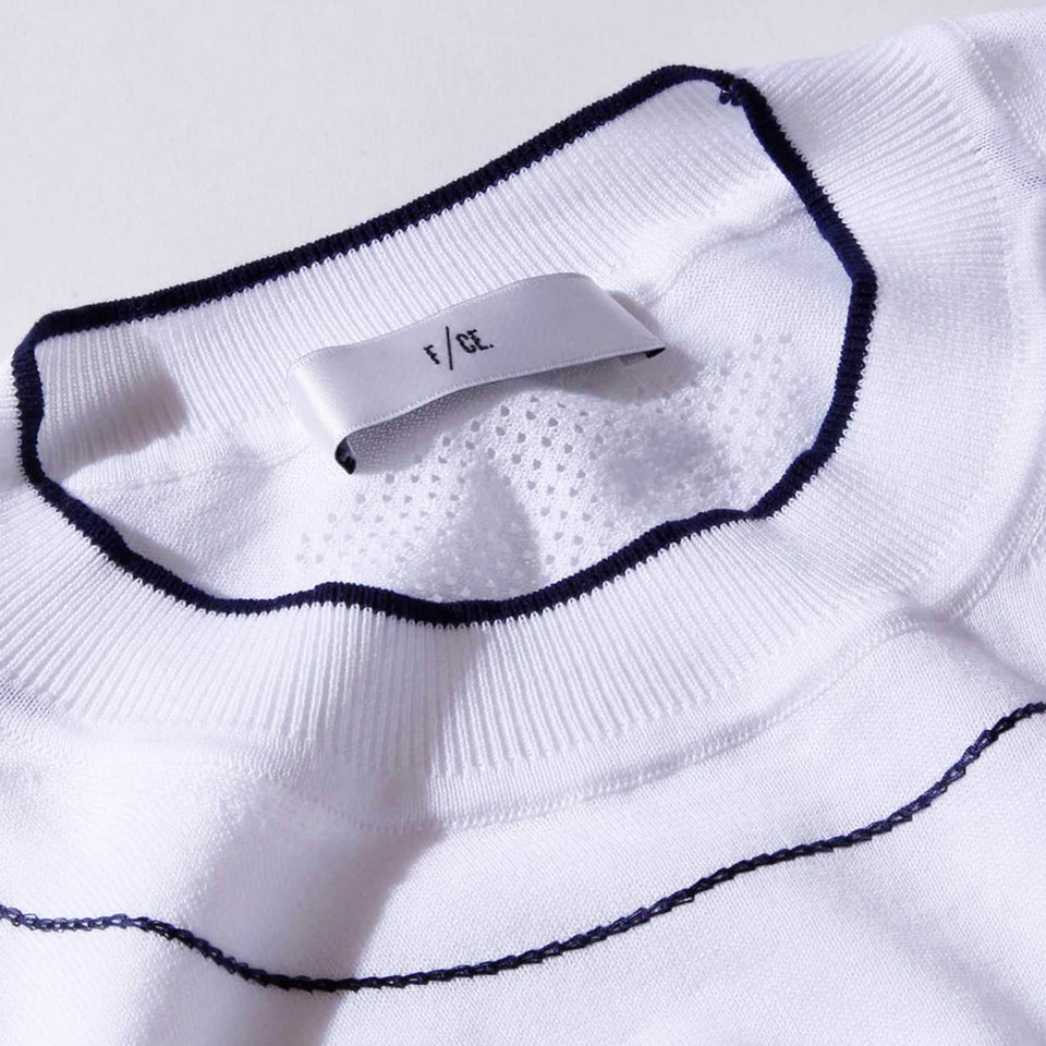 WASHABLE HIGHGAGE KNIT S/S T-SHIRTS - WHITE