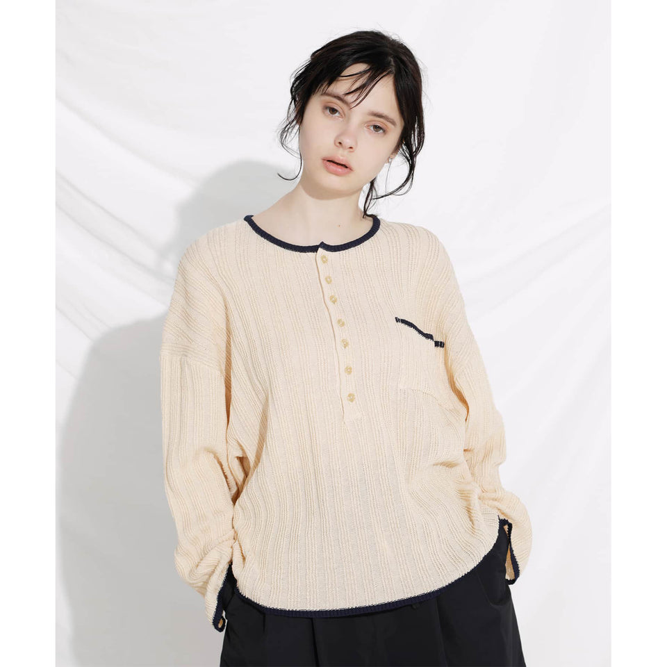STRAW YARN KNIT HENRY SHIRTS - IVORY
