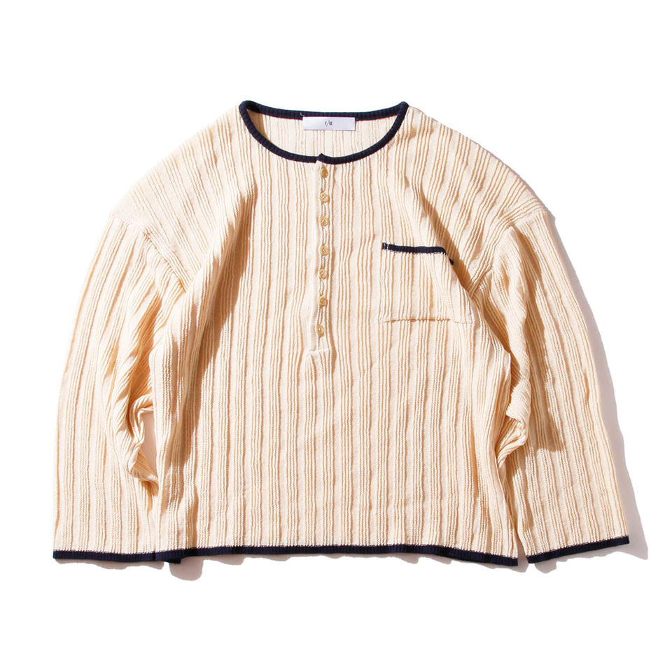 F/CE® | STRAW YARN KNIT HENRY SHIRTS - IVORY