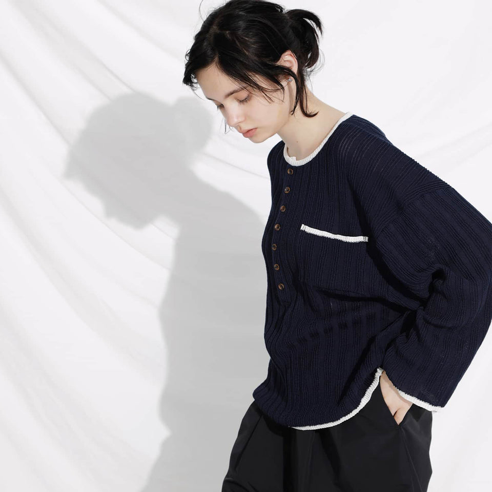 STRAW YARN KNIT HENRY SHIRTS - NAVY