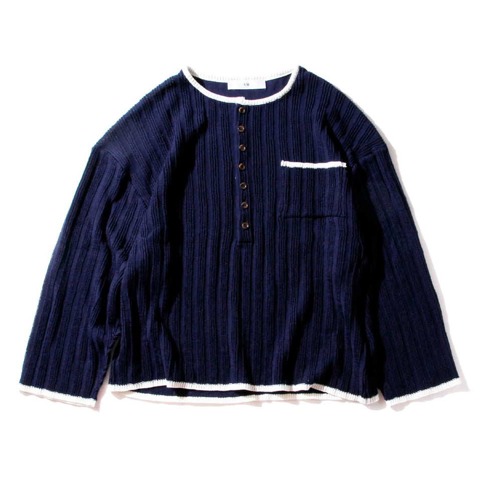 F/CE® | STRAW YARN KNIT HENRY SHIRTS - NAVY