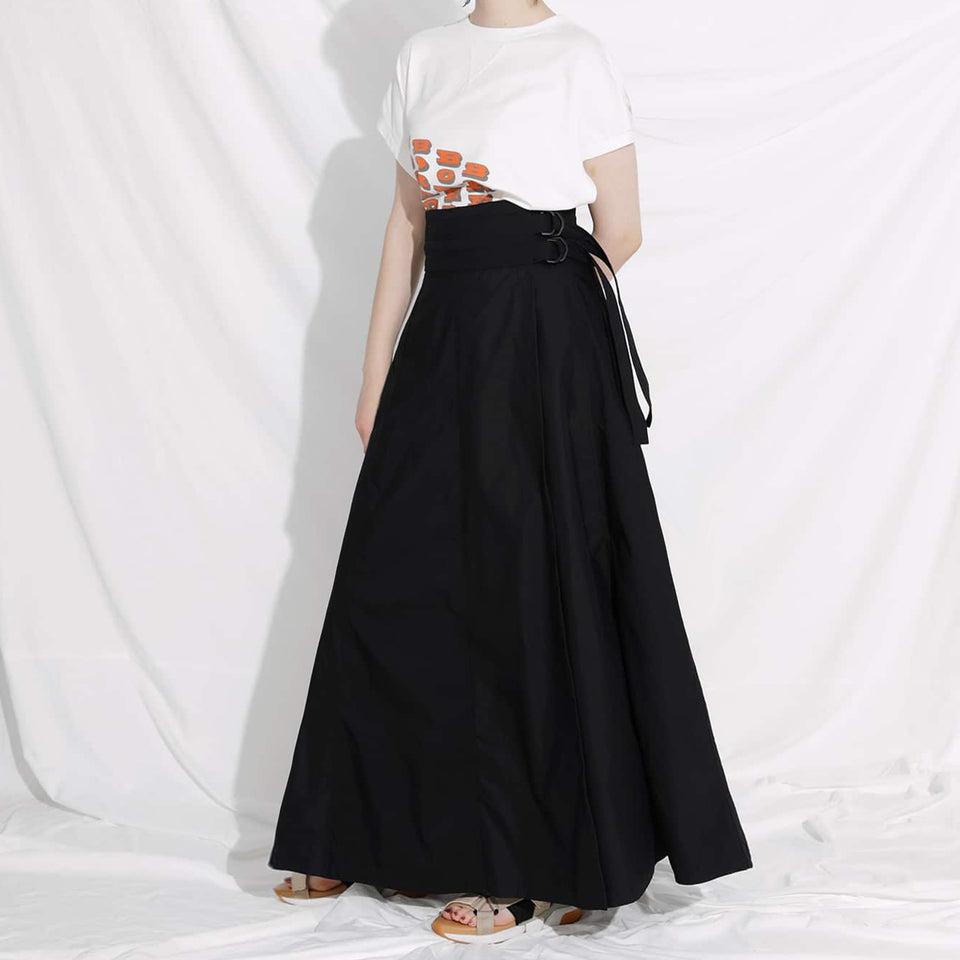 SWITCHED WRAP LONG SKIRT - BLACK