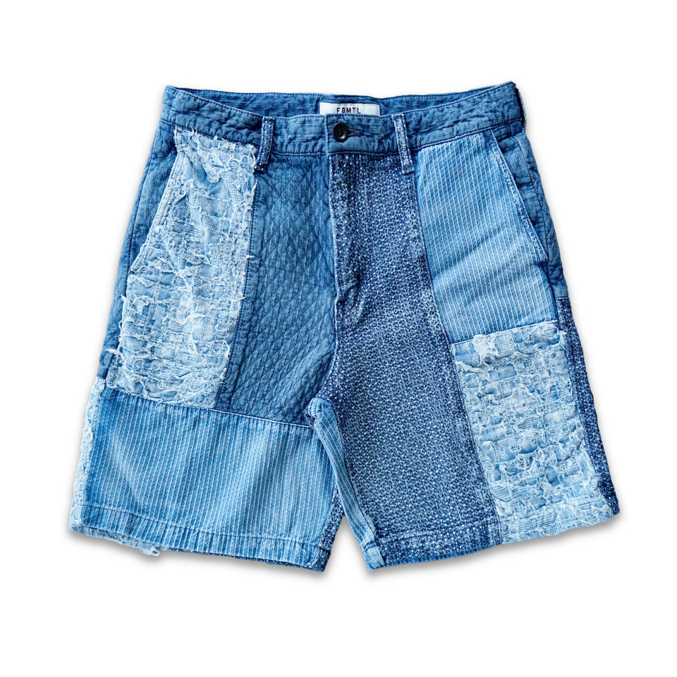 INDIGO SASHIKO PATCHWORK SHORT PANTS 10YRS WASH - INDIGO