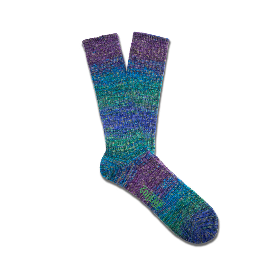 HEMP SPLASH PATTERN CREW SOCKS - BLUE
