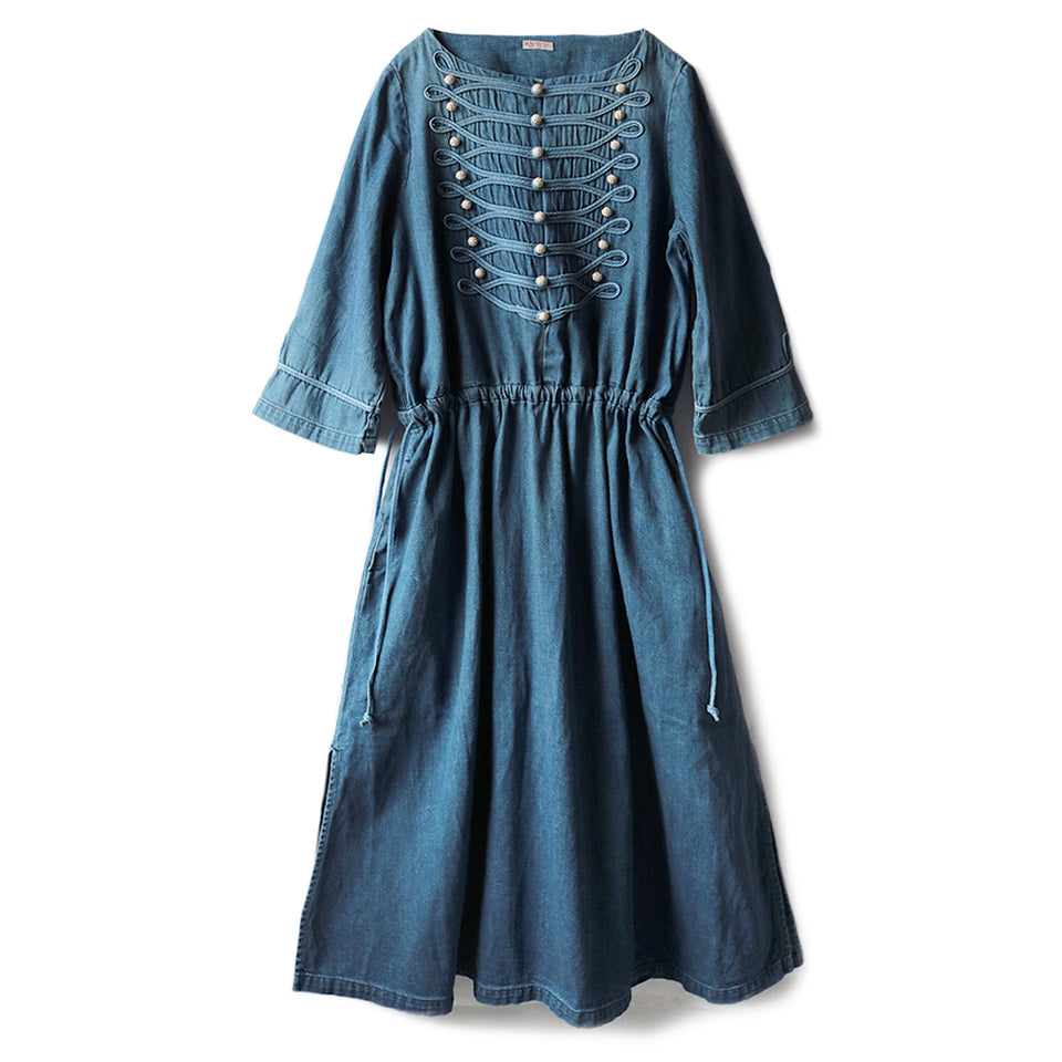 8oz DENIM NAPOLEON TUNIC DRESS - PRO