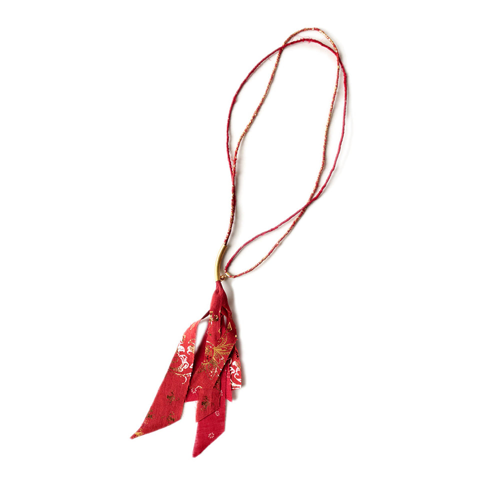 FRENCH CLOTH LINEN FRINGED NECKLACE - RED
