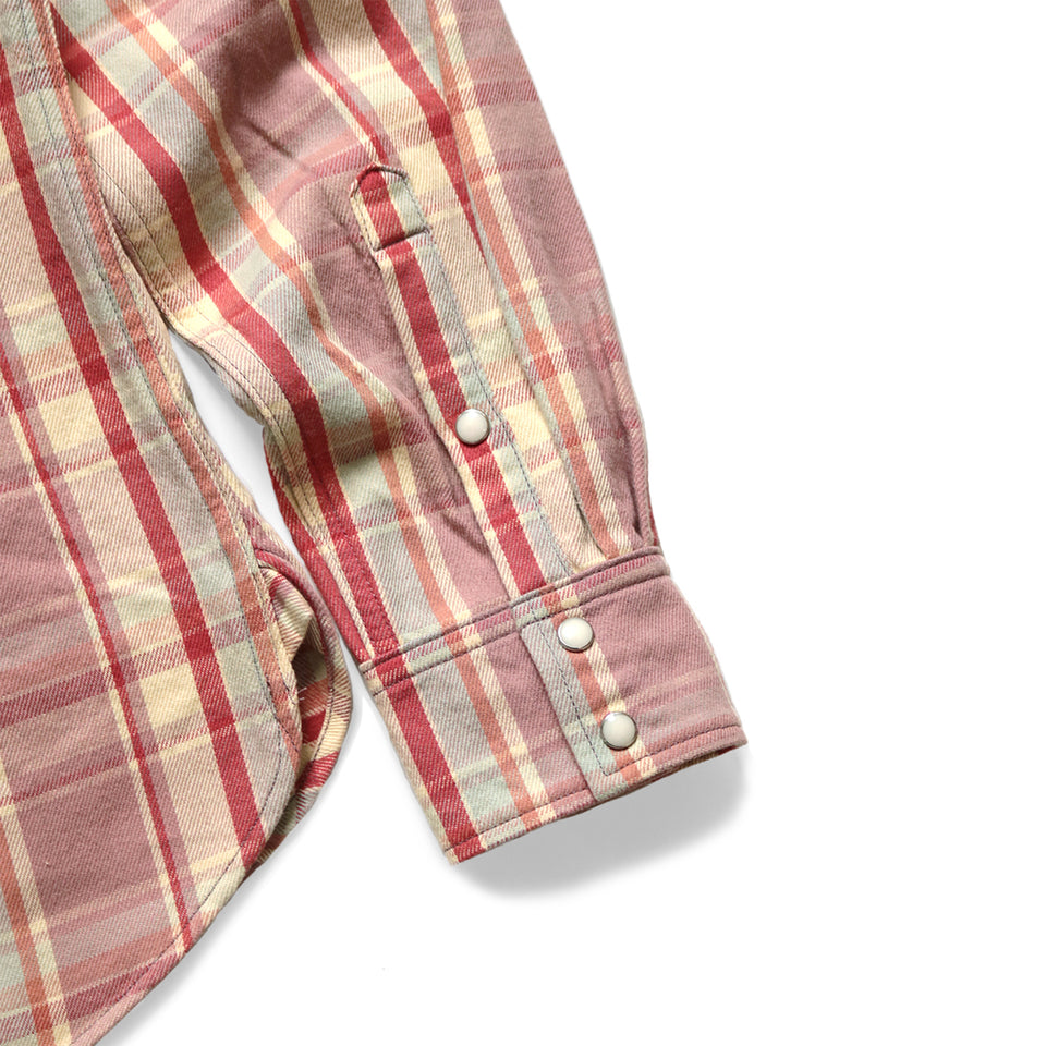 FLANNEL CHECK WESTERN SHIRT - LIGHT PURPLE