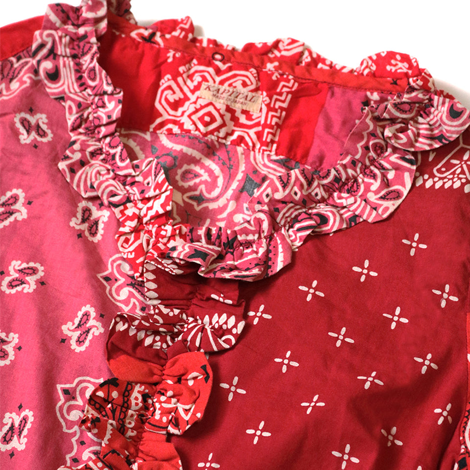 GAUZE BANDANA PATCHWORK V-NECK FRILL SHIRT - RED