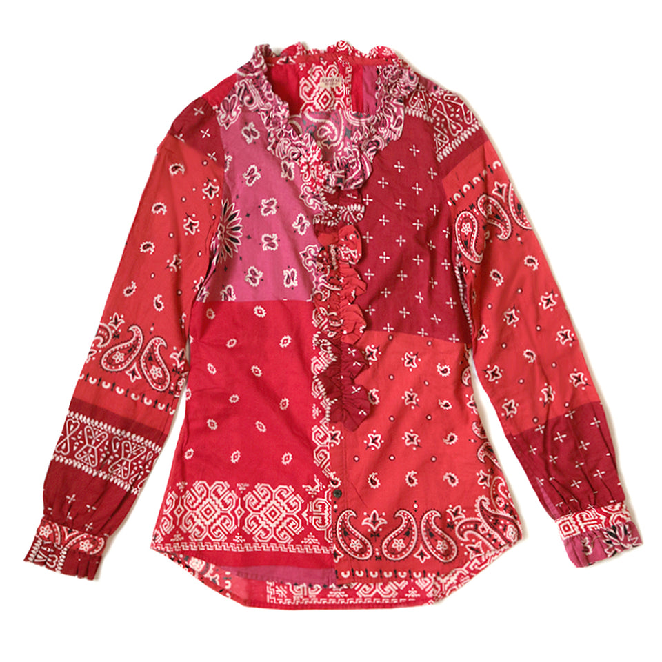 KAPITAL - GAUZE BANDANA PATCHWORK V-NECK FRILL SHIRT - RED at Mannahatta NYC