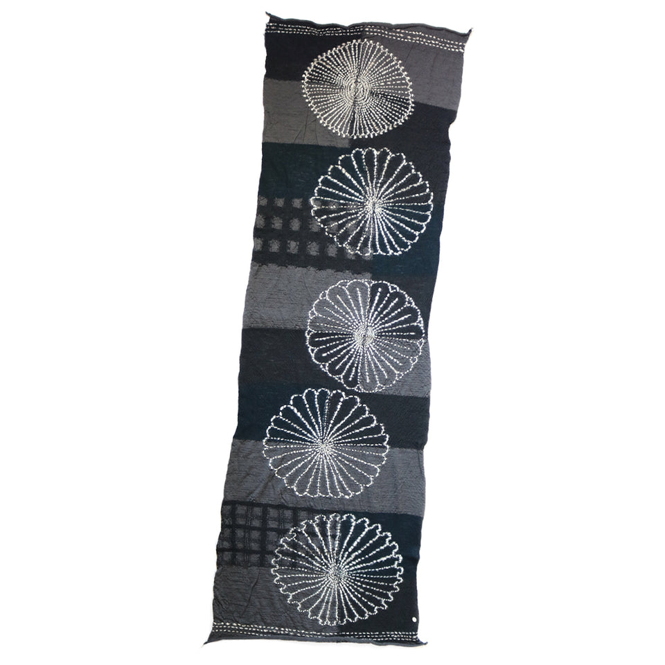 COMPRESSED WOOL SCARF FUROSHIKI FIVE RINGS - BLACK