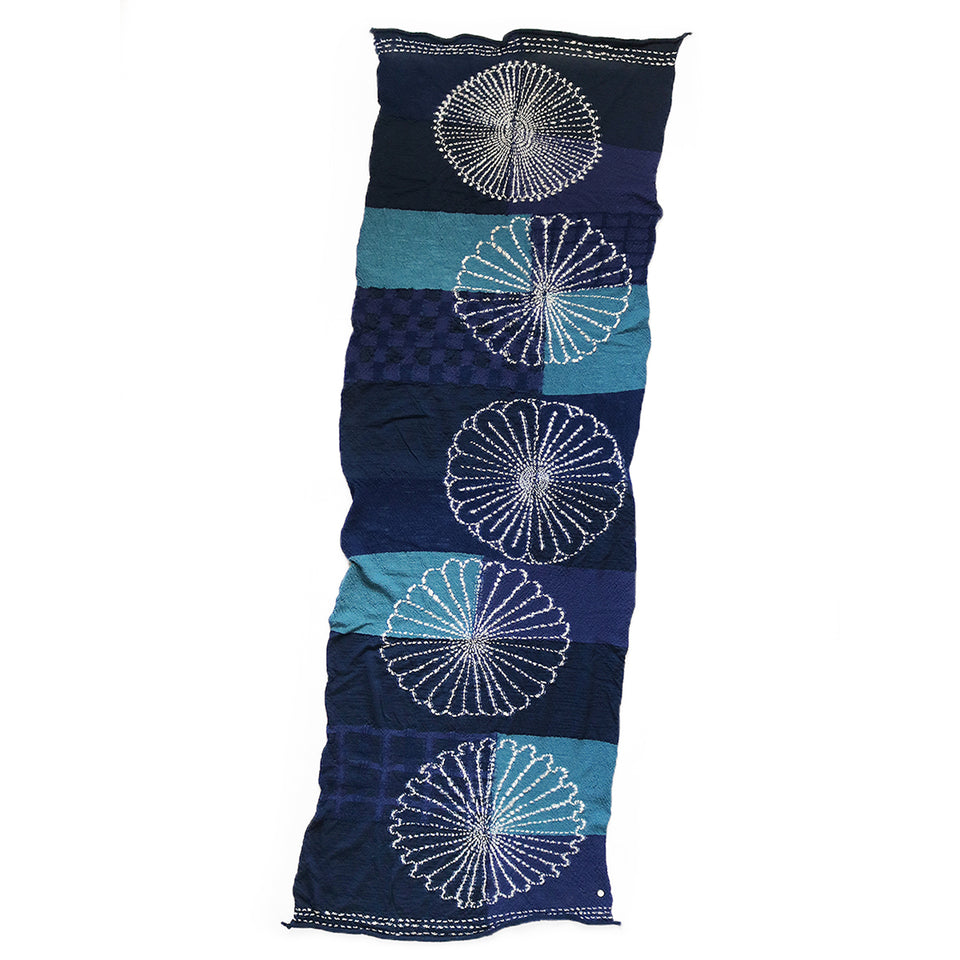 COMPRESSED WOOL SCARF FUROSHIKI FIVE RINGS - NAVY