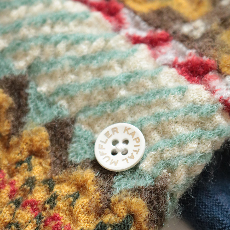 COMPRESSED WOOL SCARF FAIR ISLE FINVE RINGS - NATURAL