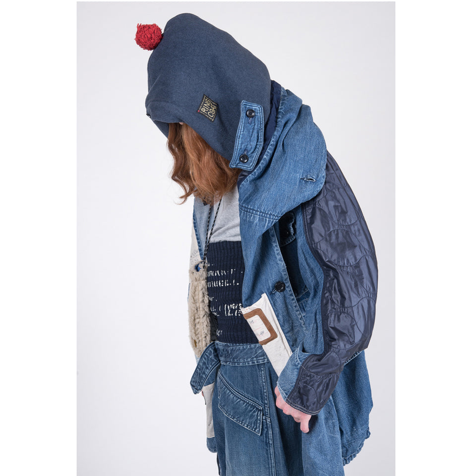 DENIM x NYLON QUILTING BIVOUAC RINGCOAT (JOURNEY REMAKE) - INDIGO