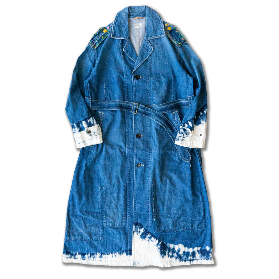 11.5oz DENIM DRAGGING COAT (HIPPIE REMAKE) - INDIGO