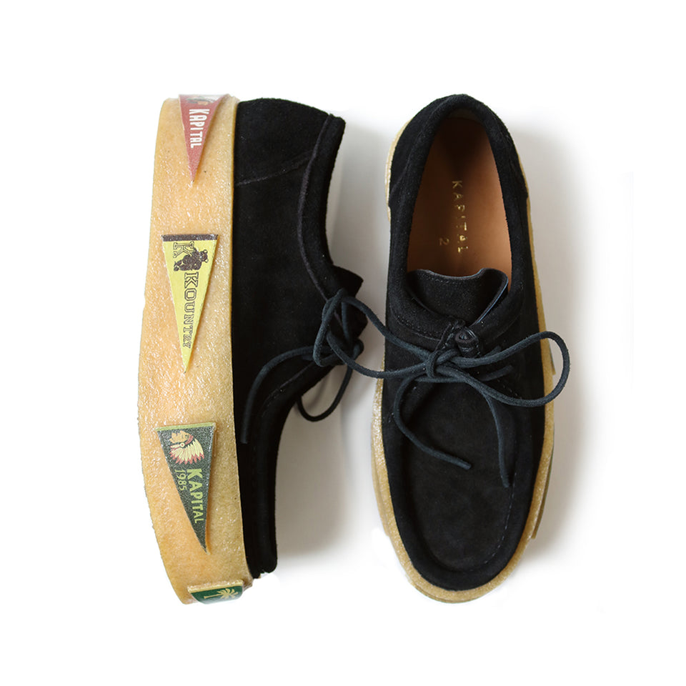 LEATHER SUEDE WALLABEES (PENNANT CREPE SOLE) - BLACK