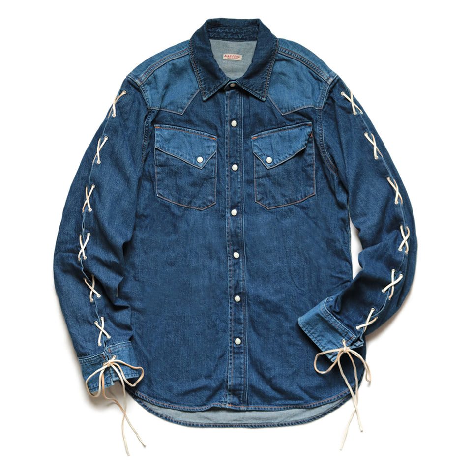 8oz DENIM LACE-UP WESTERN SHIRT MENS - INDIGO